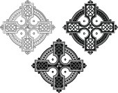 Complex Celtic cross ornament in black on white background. The shape is based on a square cross in a circle and filled with an ornamental, endless knot; centering a trinity symbol. The design is illustrated as line work, as a black and white tattoo and in a gray scale version.