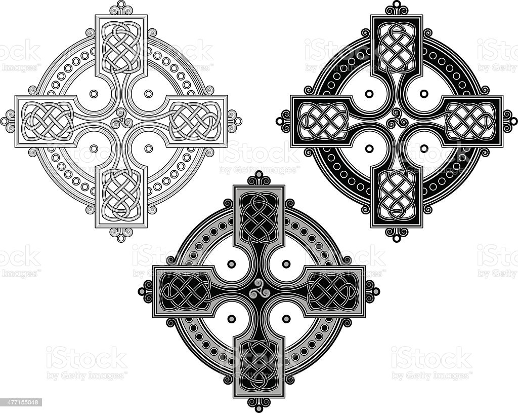 Complex Celtic cross ornament (Knotted cross variation n° 4) vector art illustration