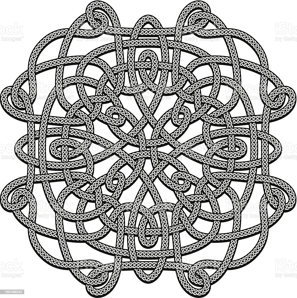 Complex Celtic Knot - Black & White royalty-free stock vector art