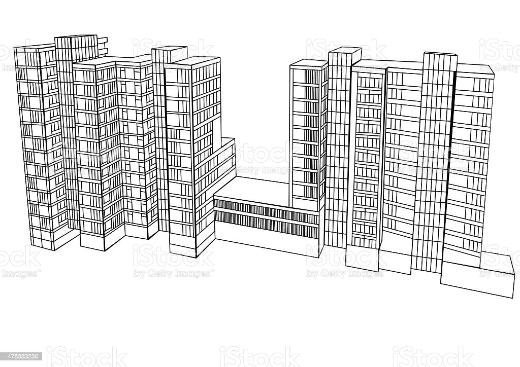 complex housing vector art illustration
