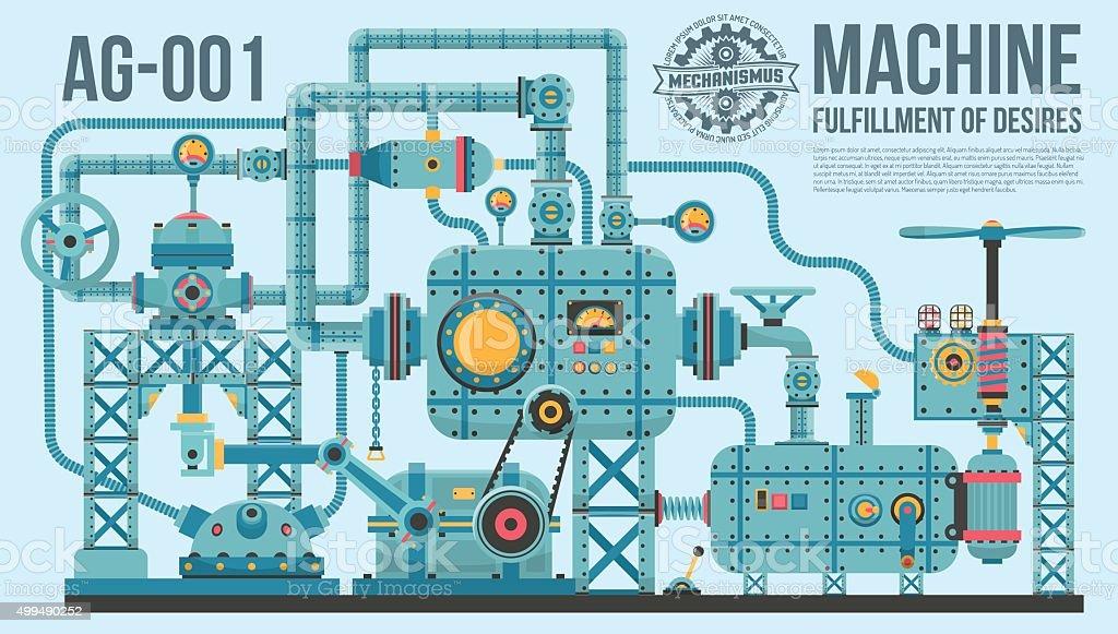 complex industrial machine vector art illustration