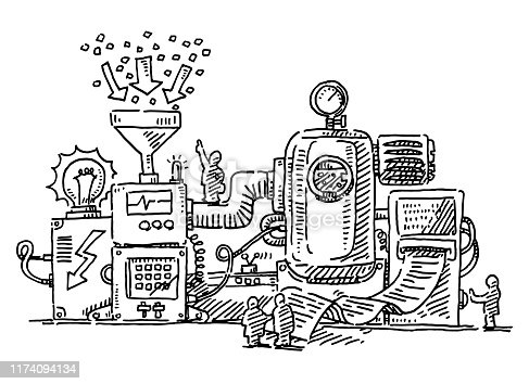 Hand-drawn vector drawing of a Complex Machine and Little Human Figures working. Black-and-White sketch on a transparent background (.eps-file). Included files are EPS (v10) and Hi-Res JPG.