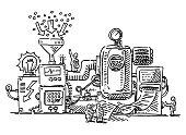 istock Complex Machine Little Human Figures Drawing 1174094134