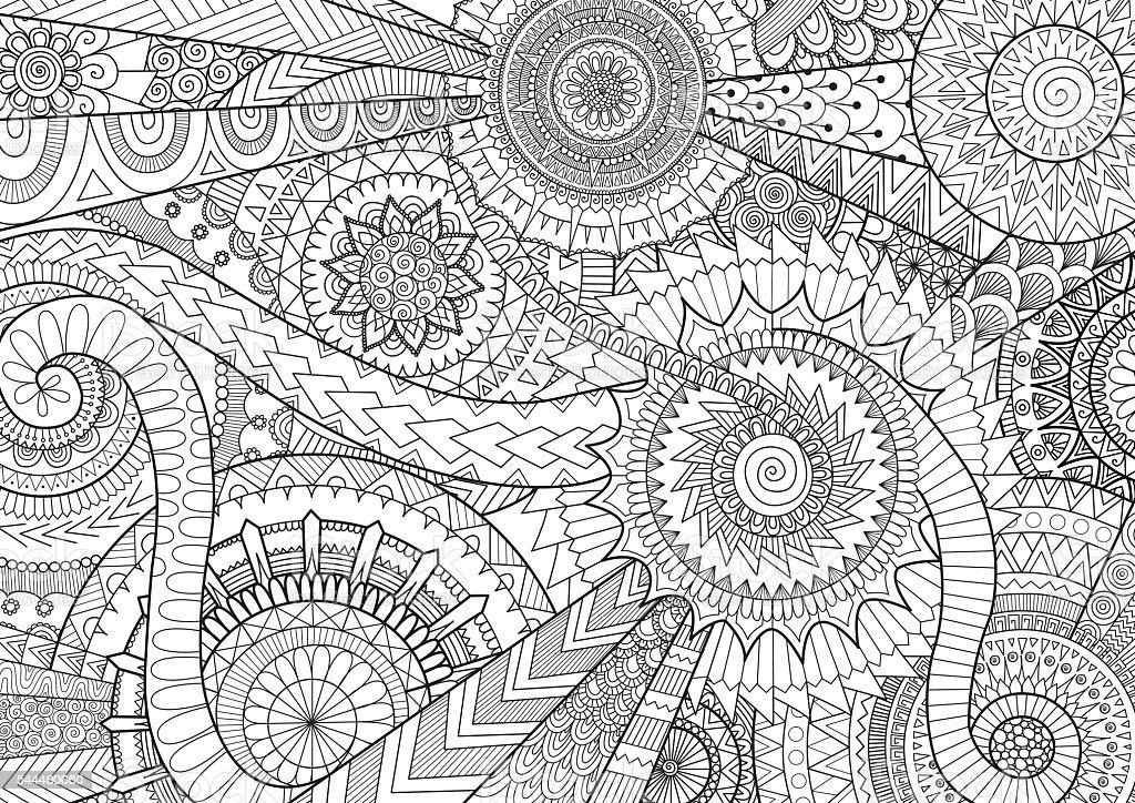 複合的なマンダラデザインの動き大人塗り絵の本と背景 いたずら書きの