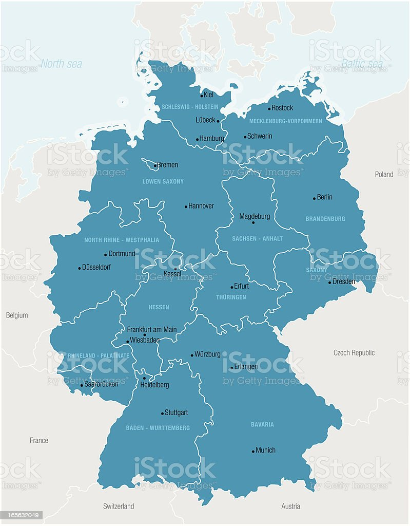 A complex map of Germany in blue royalty-free stock vector art