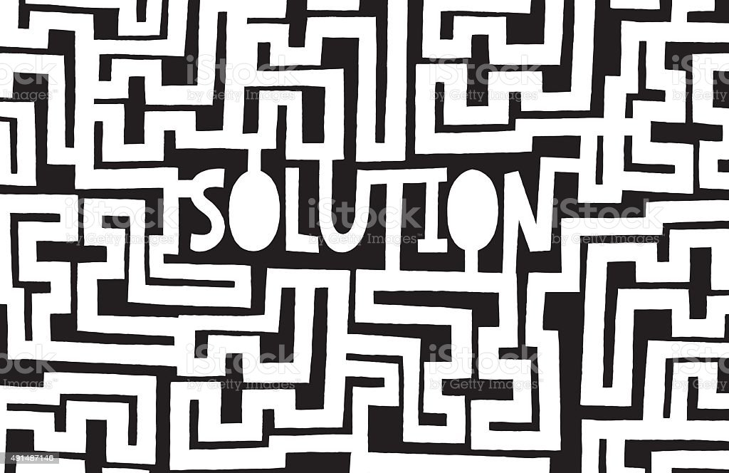 Complex maze to find a solution vector art illustration