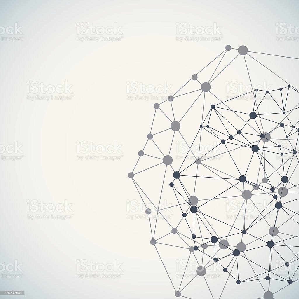 Complex network background vector art illustration