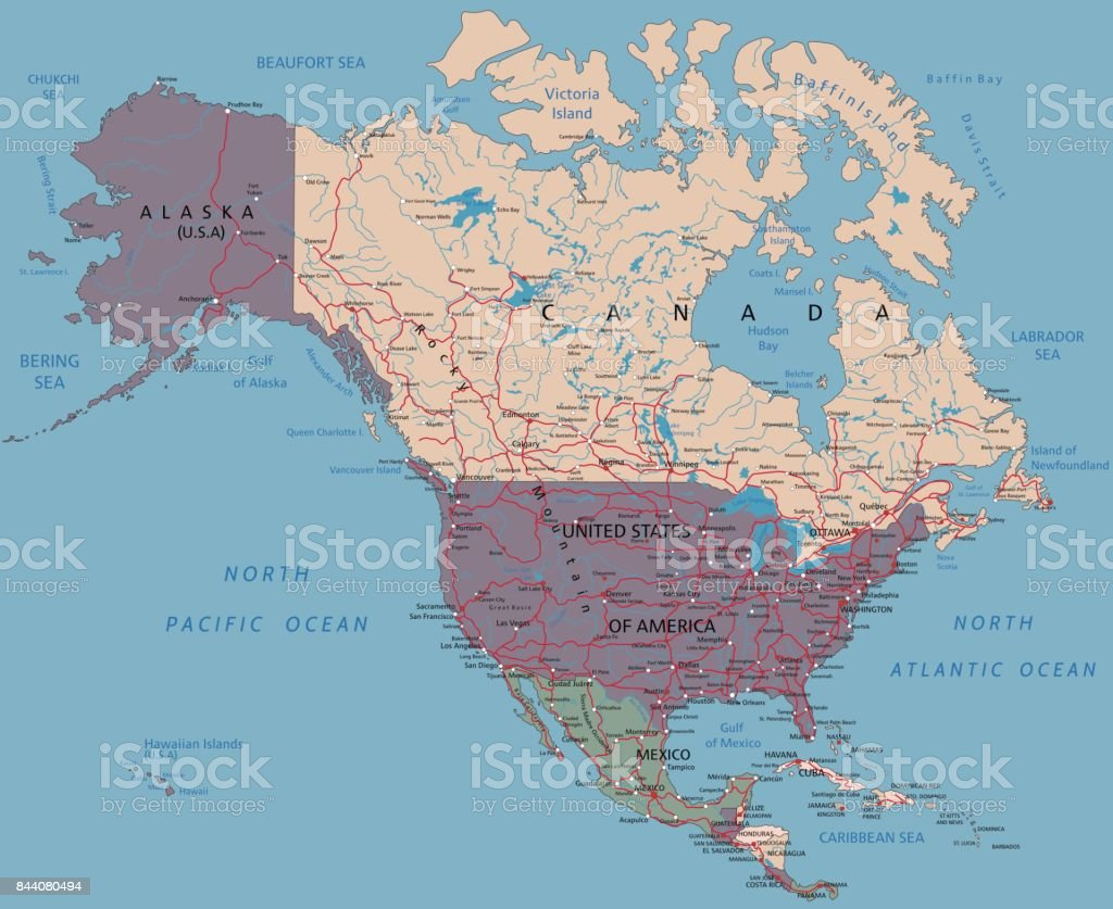 Complex North America Political Map Stock Vector Art & More Images ...