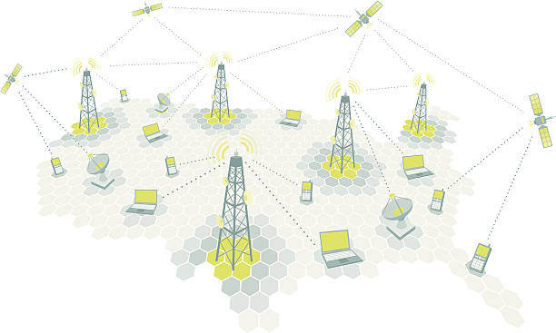 Complex telecomm network / Communication diagram Satellites, cell phones, laptops, dishes, and antennas. repeater tower stock illustrations