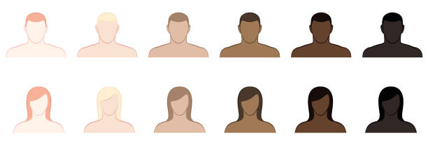 Complexion. Different skin tones and hair colors of men and women. Very fair, fair, medium, olive, brown and black. Isolated vector illustration on white background. Complexion. Different skin tones and hair colors of men and women. Very fair, fair, medium, olive, brown and black. Isolated vector illustration on white background. toned image stock illustrations