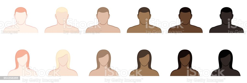 Complexion. Different skin tones and hair colors of men and women. Very fair, fair, medium, olive, brown and black. Isolated vector illustration on white background. vector art illustration