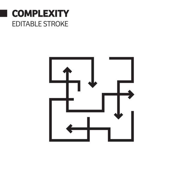 stockillustraties, clipart, cartoons en iconen met pictogram complexiteitsregel, illustratie van het hoofdvectorsymbool. pixel perfect, bewerkbaar beroerte. - complex