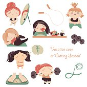 Complexity of womens weight losing. Vector collection
