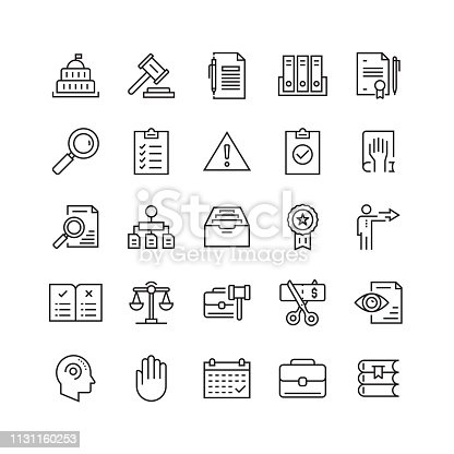 Compliance and Regulations Related Vector Line Icons