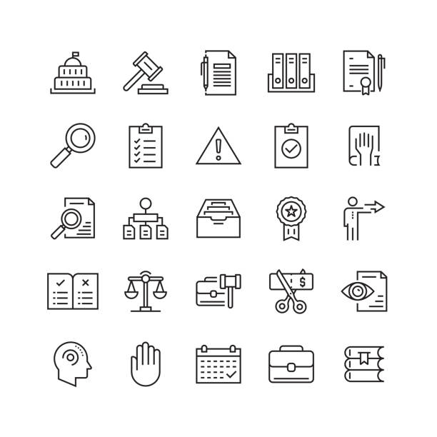 Compliance and Regulations Related Vector Line Icons Compliance and Regulations Related Vector Line Icons rules stock illustrations