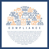 Compliance Concept - Colorful Line Icons, Arranged in Circle