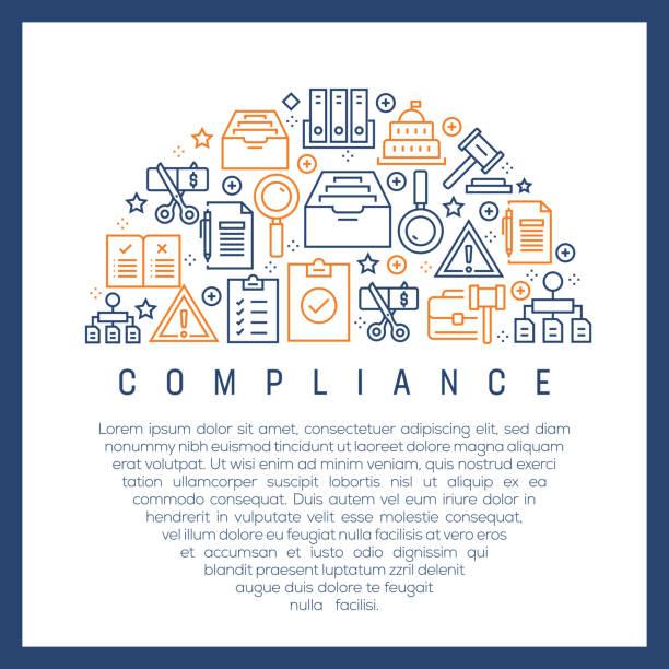 illustrazioni stock, clip art, cartoni animati e icone di tendenza di compliance concept - colorful line icons, arranged in circle - uniforme