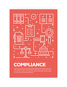 Compliance Concept Line Style Cover Design for Annual Report, Flyer, Brochure.