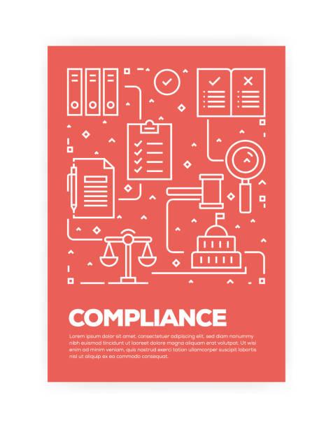 illustrazioni stock, clip art, cartoni animati e icone di tendenza di compliance concept line style cover design for annual report, flyer, brochure. - uniforme