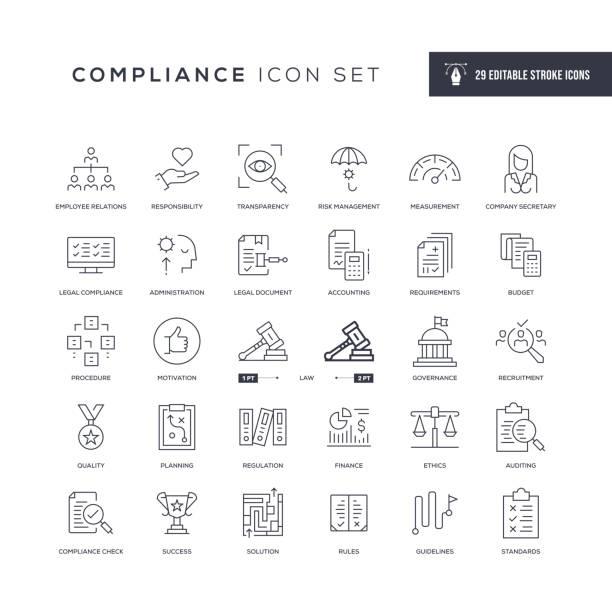 ikony linii obrysu edytowalne zgodnie z przepisami - menadżer stock illustrations