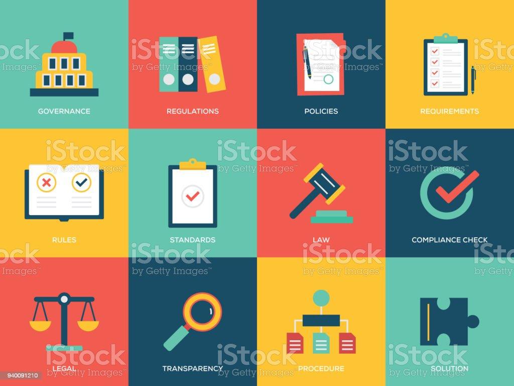 Compliance Flat Icons Set