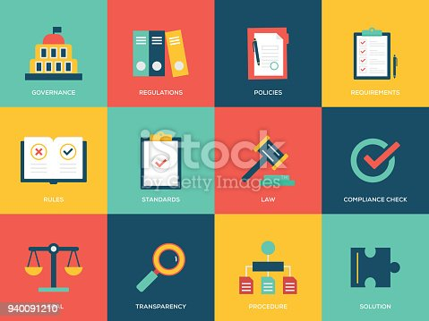 Compliance Flat Icons Set