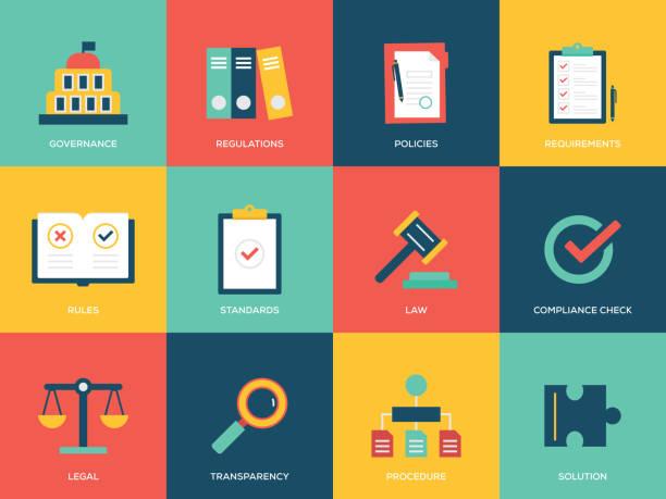 Compliance Flat Icons Set Compliance Flat Icons Set government stock illustrations