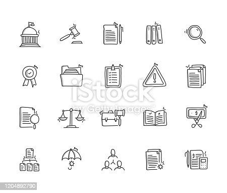 Compliance Hand Draw Line Icon Set