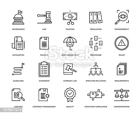 Compliance Icon Set - Thin Line Series