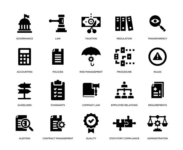 Compliance Icon Set Compliance Icon Set rules stock illustrations