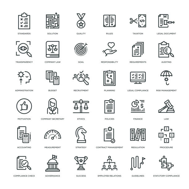 illustrazioni stock, clip art, cartoni animati e icone di tendenza di compliance icon set - sustainability icons