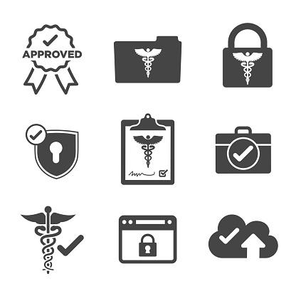Hipaa Compliance Icon Set With Hippa Image Involving