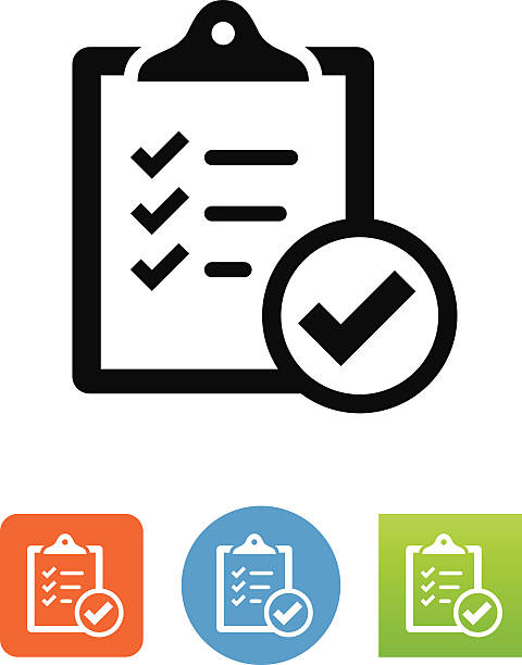 Compliance Icon Clipboard with checkmark symbol for download. Vector icons for video, mobile apps, Web sites and print projects. clipboard stock illustrations