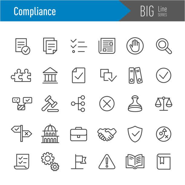 compliance icons - big line series - katalog stock illustrations