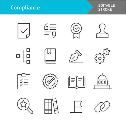 Compliance Line Icons (Editable Stroke)