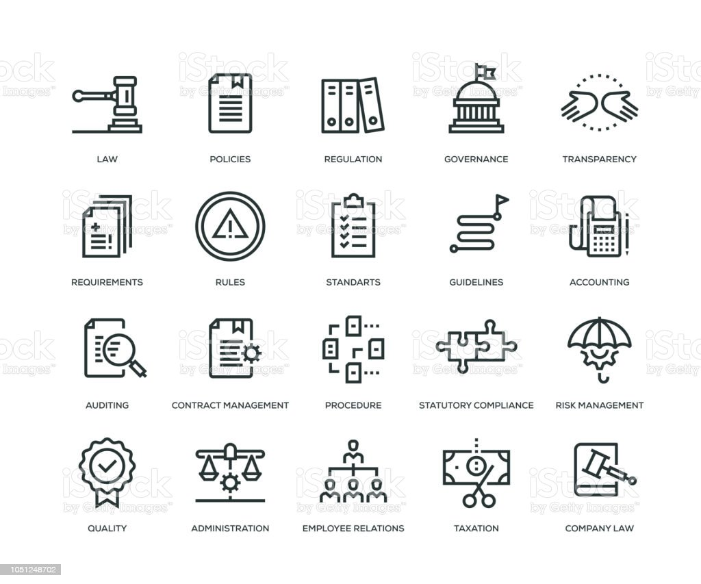 Compliance Icons - Line Series vector art illustration