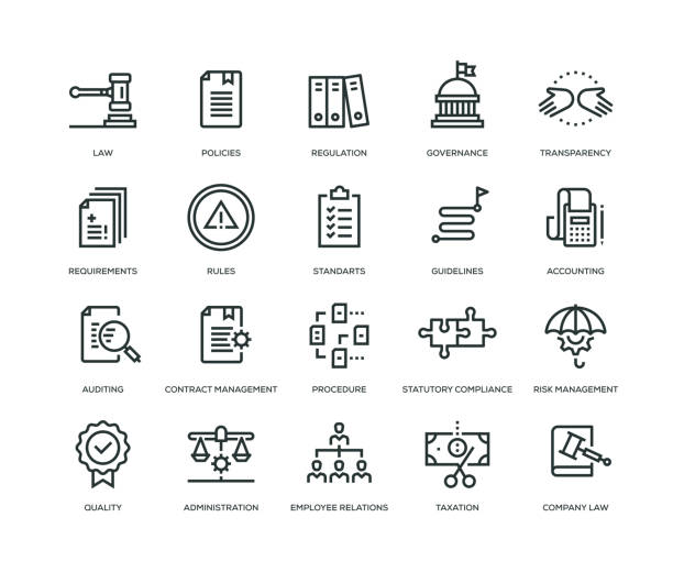 compliance icons - line series - autorytet stock illustrations