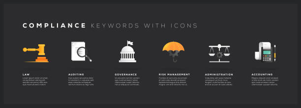 Compliance Keywords with Icons Compliance Keywords with Icons government stock illustrations