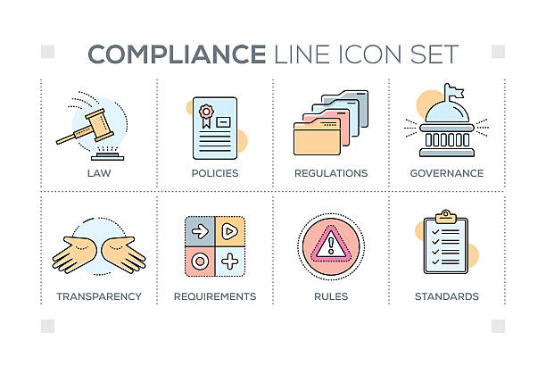 Compliance keywords with line icons vector art illustration