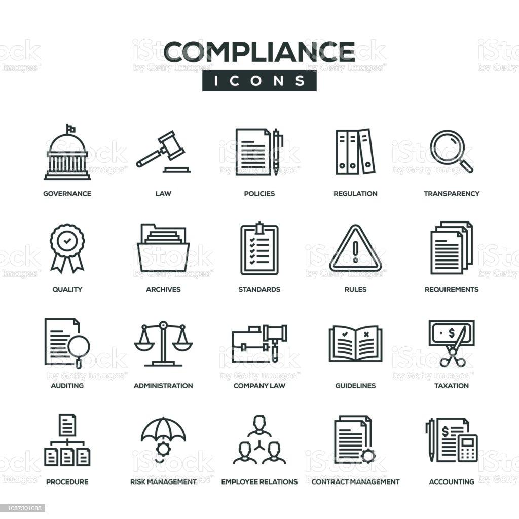 Compliance Line Icon Set vector art illustration