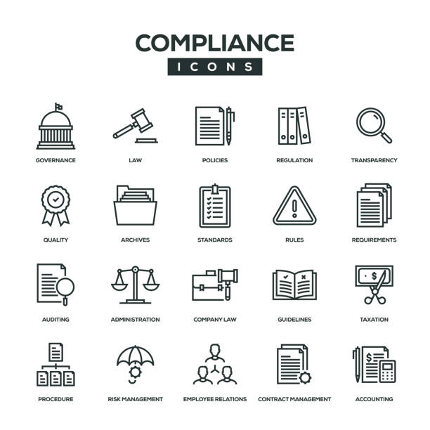 illustrazioni stock, clip art, cartoni animati e icone di tendenza di compliance line icon set - principio