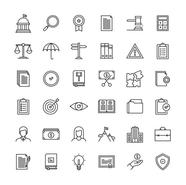 Compliance Line Icon Set Compliance Line Icon Set rules stock illustrations
