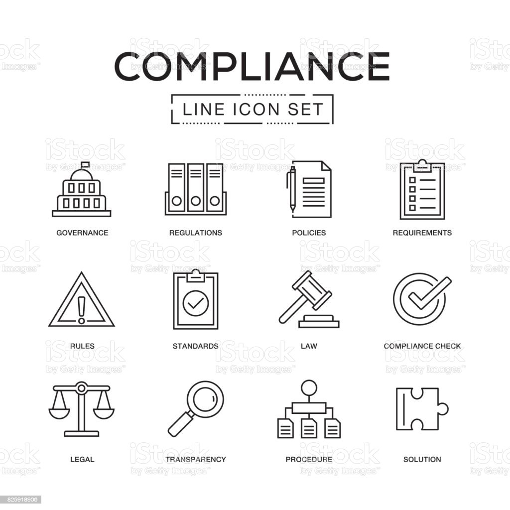 Compliance Line Icon Set vector art illustration