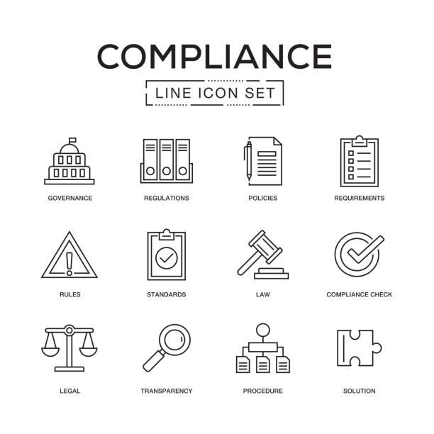 규정 준수 라인 아이콘 세트 - 정치와 정부 stock illustrations