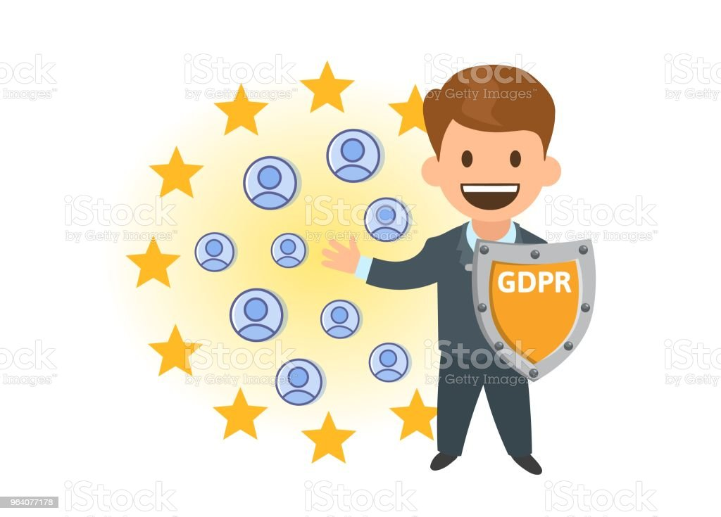 GDPR compliance. Personal data security. Shielded man protecting personal accounts in front of European Union stars. Flat vector illustration. Isolated. - Royalty-free Adult stock vector