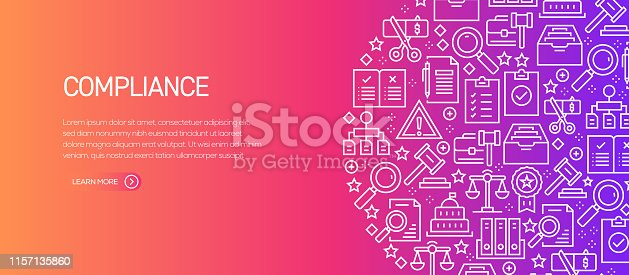 Compliance Related Banner Template with Line Icons. Modern vector illustration for Advertisement, Header, Website.