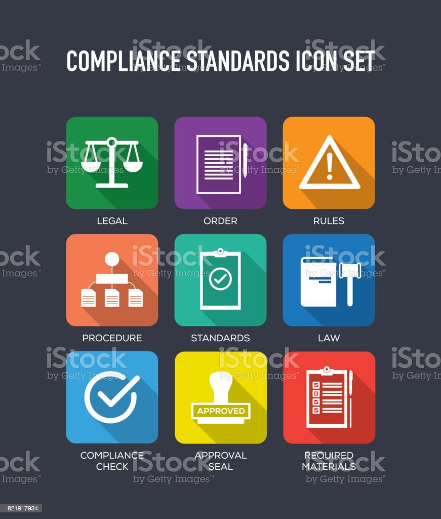 compliance standards flat icons set stock vector art  u0026 more images of agreement 821917934