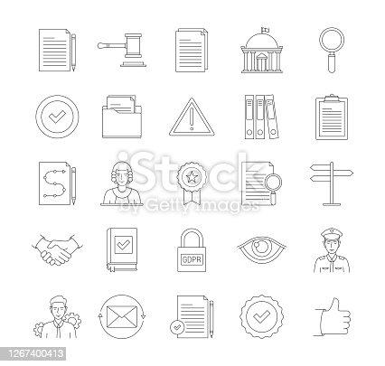 Compliance Thin Line Icon Set