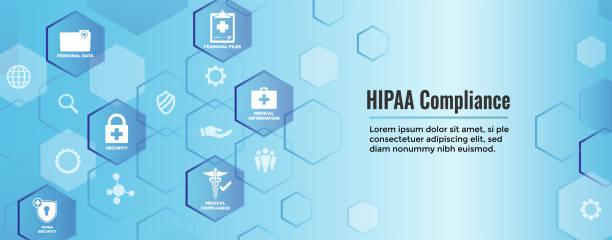 illustrazioni stock, clip art, cartoni animati e icone di tendenza di hippa compliance web banner header w medical icon set & text - uniforme