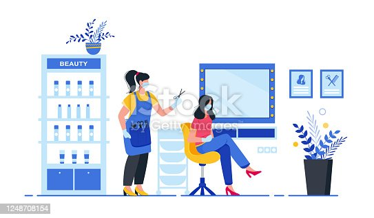istock Compliance with sanitary standards in a beauty salon. Interior of beauty salon. 1248708154